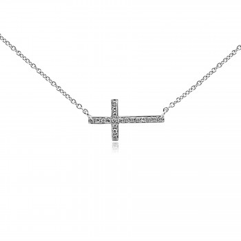 14k w/g horizontal cross necklace