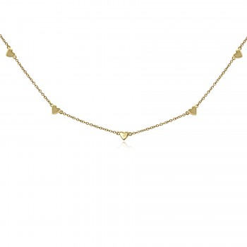 14k y/g heart drops necklace