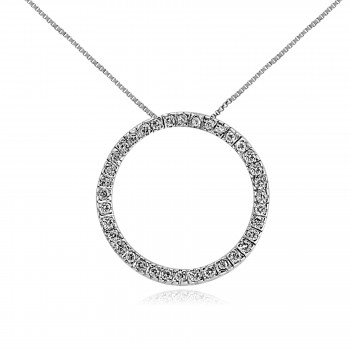 14k w/g open circle diamond necklace