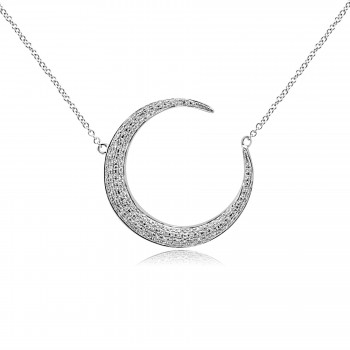 14k w/g pave diamond crescent moon necklace