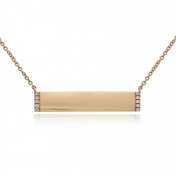 14k R/G Diamond Bar Necklace