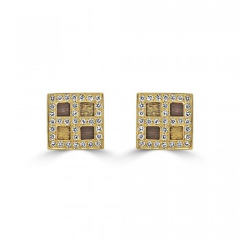14k y/g square diamond studded earrings vintage inspired