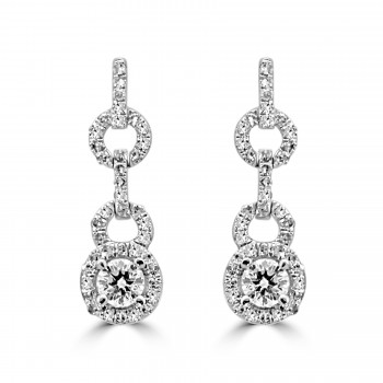 14k w/g round diamond halo drop earrings