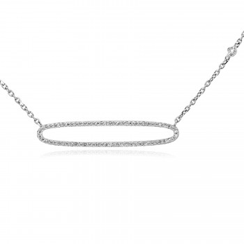 14k w/g horizontal oval pave diamond necklace