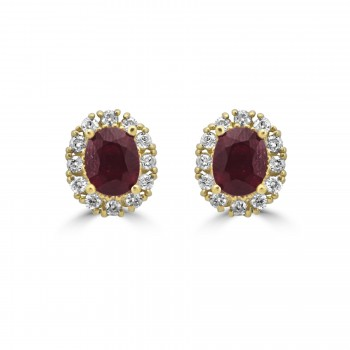 14k y/g ruby diamond halo earrings