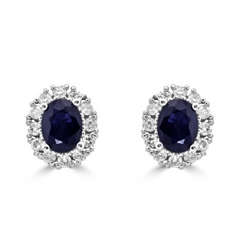 14k w/g oval blue sapphire halo diamond earrings