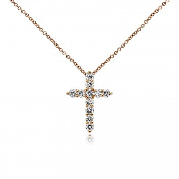 14k r/g diamond cross necklace