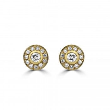 14k y/g round diamond bezel halo earrings with milgrain