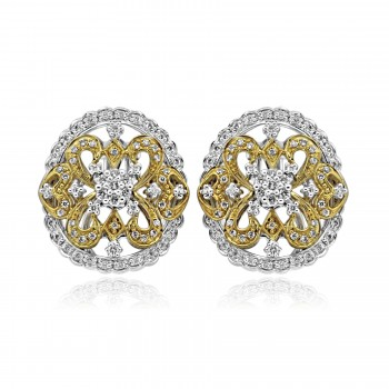 14k two tone y/g & w/g art deco inspired diamond earrings