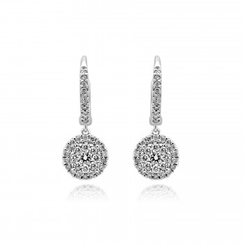 14k w/g diamond cluster drop earrings