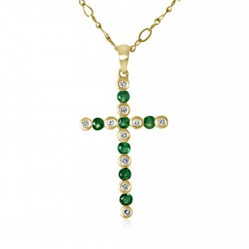 14k y/g diamond and emerald cross pendant