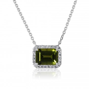 14k w/g emerald-cut peridot gemstone diamond halo necklace
