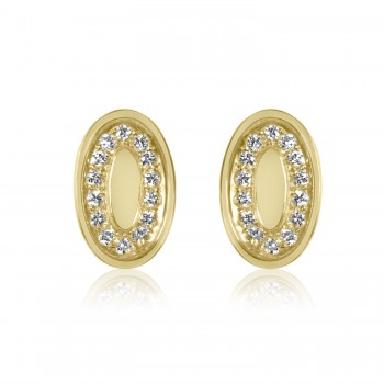 14k y/g vintage oval placard diamond earrings