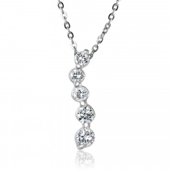 14k W/G Graduated Diamond Drops Necklace 5 stone