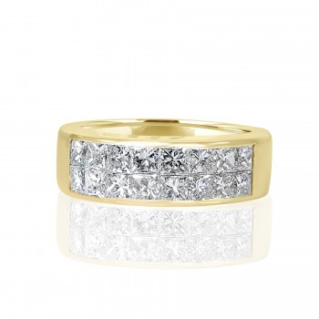 14k y/g invisible set princess cut diamond band 1.00ctw