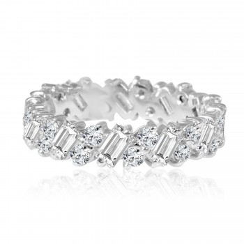 14k w/g round and baguette diamond eternity band