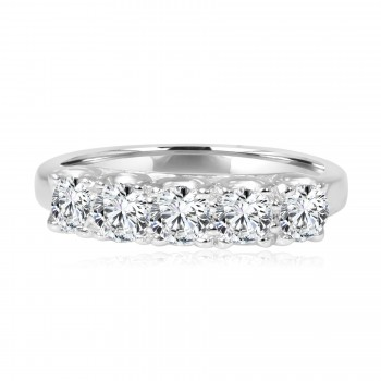 14k w/g diamond 5-stone band 1.18ctw