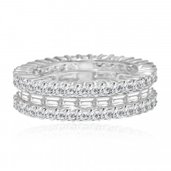 18k w/g round & baguette diamond eternity band 3.25ctw