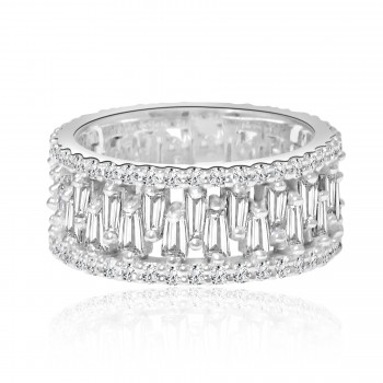 14k w/g round & baguette diamond eternity band 2.61ctw