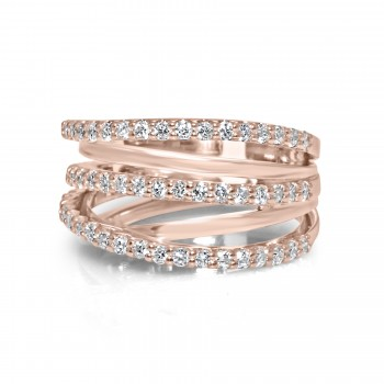 14k r/g wide triple criss cross diamond ring