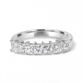 14k w/g 7-stone princess cut diamond band 1.12ctw