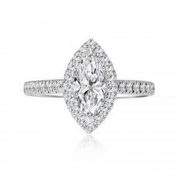 18k w/g marquise cut halo diamond engagement ring 1.61ctw.