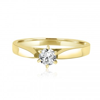 14k y/g round solitaire diamond engagement ring 0.30ctw