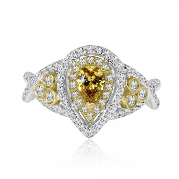 14k 2-tone pear double halo fancy yellow diamond engagement ring 1.00ctw