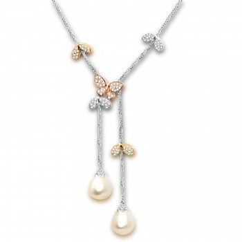 14k Diamond & Pearl Butterfly Necklace