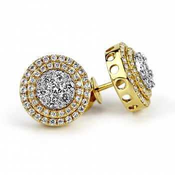 14k y/g diamond double halo stud earrings