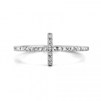 14K w/G DIAMOND HORIZONTAL CROSS FASHION RING