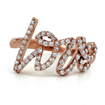 14k R/G Diamond LOVE Ring