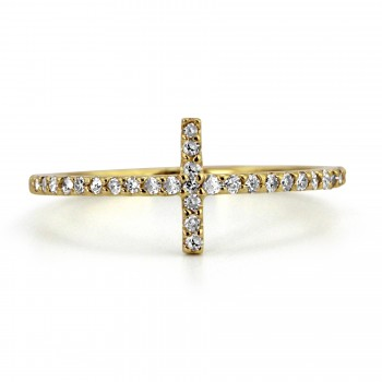 14k y/g diamond horizontal cross fashion ring