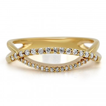 14k y/g diamond crossover fashion ring