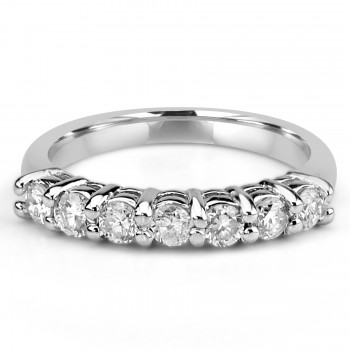 14k W/G top surface Round Diamond Band shared prong