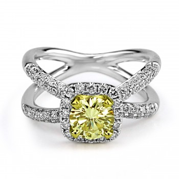 18k 2-tone round fancy yellow diamond halo engagement ring 2.00ctw