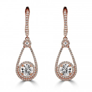 sterling silver r/g plated crystal earrings