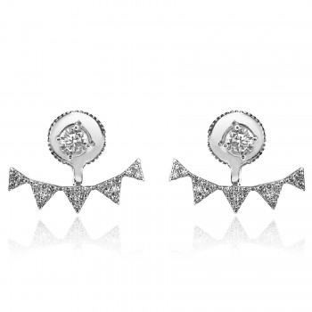 STERLING SILVER w/G PLATED CRYSTAL rockstud jacket EARRINGS