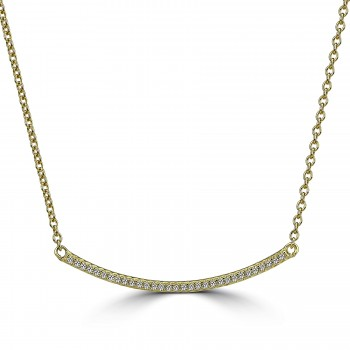 sterling silver y/g plated crystal curved bar necklace