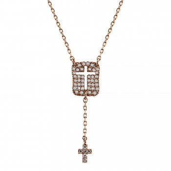 14k R/G Open Cross Hanging Pendant