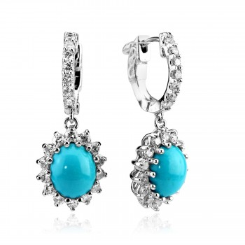 14k w/g turquoise and diamond drop earrings