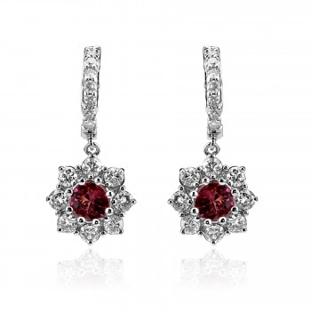 14k w/g ruby and diamond flower drop earrings