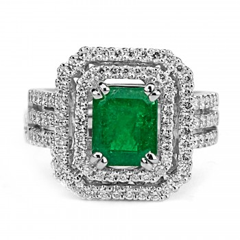 14t w/g green columbian emerald and diamond double halo ring