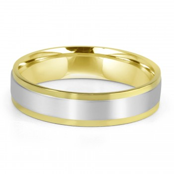 14k two-tone w/g & y/g mens band