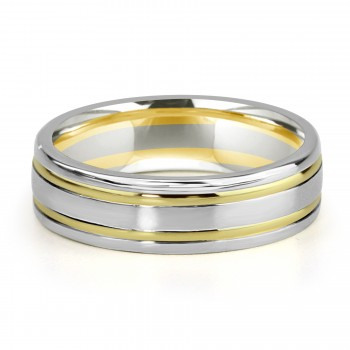 Two-tone platinum and 18k y/g inlay mens band