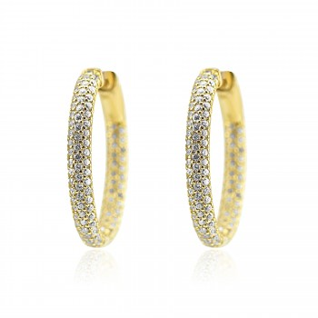 Sterling Silver Y/G Plated Crystal Hoop Earrings