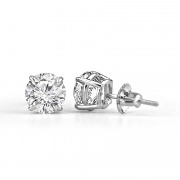 14K W/G Round Brilliant-Cut Diamond Studs