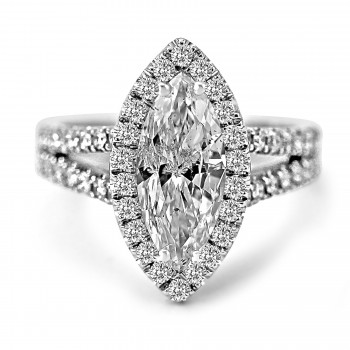 18K W/G Marquise-Cut Diamond Halo Engagement Ring Split Shank