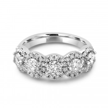 18k W/G Round-Cut Diamond Halo Half Eternity Band