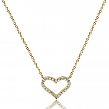 14K Y/G Open Heart Pave Diamond Necklace